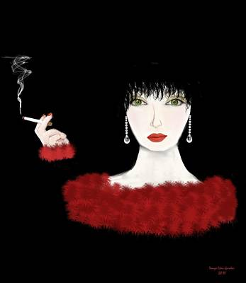 Lady In Red Art Deco Poster by Tanya Van Gorder