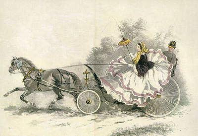 Lady Wearing A Crinoline And Driving Poster by Vintage Design Pics