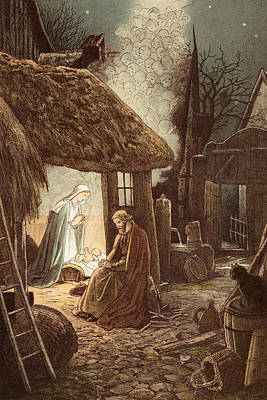 Laid In A Manger Poster by Victor Paul Mohn