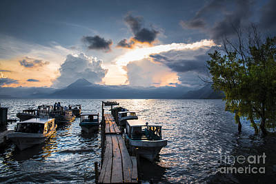 Lake Atitlan At Sunset Poster by Yuri Santin
