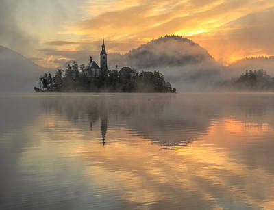 Lake Bled Sunrise Poster by Tom and Pat Cory