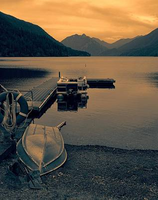 Lake Crescent Boats At Sunset Poster by Dan Sproul