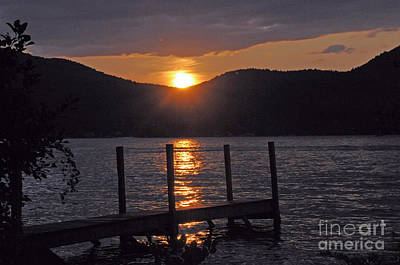 Lake George New York Sunset Poster by Cindy Lee Longhini