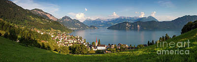 Lake Lucerne At Weggis Poster by Brian Jannsen