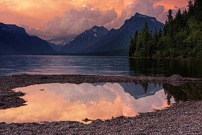Lake Mcdonald Sunset Poster by Mark Kiver