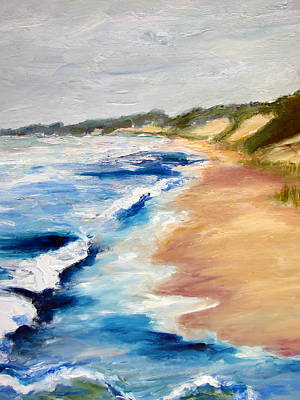 Lake Michigan Beach With Whitecaps Detail Poster by Michelle Calkins