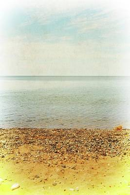 Lake Michigan With Stony Shore Poster by Michelle Calkins