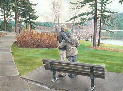 Lake Padden-memorial Bench Of Reg Bratz Poster by Nick Payne