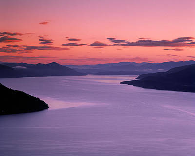 Lake Pend Oreille Sunset Poster by Leland D Howard