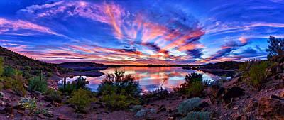 Lake Pleasant Sunset 4 Poster by Bill Caldwell -        ABeautifulSky Photography
