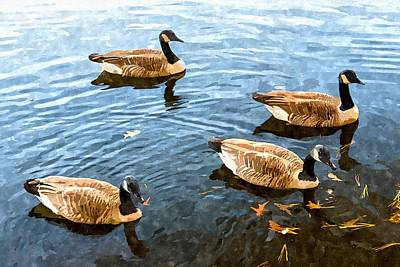 Lake Waterford Geese - Watercolor Effect Poster by Brian Wallace