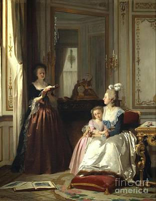Lamballe Reading To Marie Antoinette  Poster by Joseph Caraud