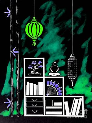 Lamps, Books, Bamboo -- Negative 2 Poster by Jayne Somogy