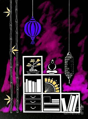 Lamps, Books, Bamboo -- Negative 3 Poster by Jayne Somogy