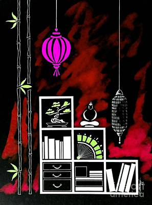 Lamps, Books, Bamboo -- Negative 5 Poster by Jayne Somogy