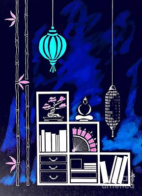 Lamps, Books, Bamboo -- Negative Poster by Jayne Somogy