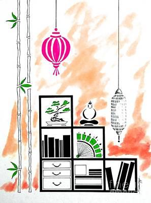 Lamps, Books, Bamboo -- Orange Poster by Jayne Somogy