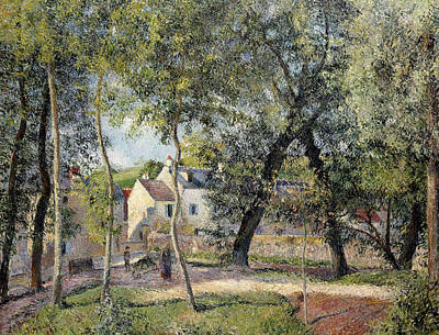 Landscape At Osny Near The Drinking Trough Poster by Camille Pissarro