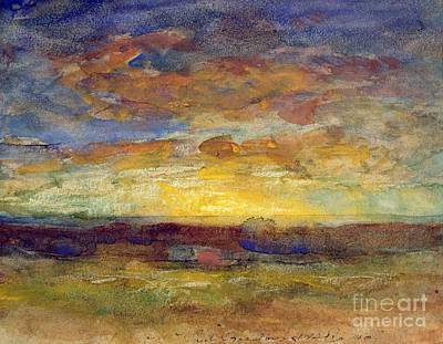 Landscape With Setting Sun Poster by Auguste Francois Ravier