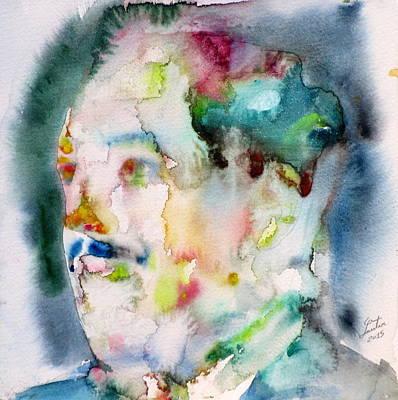 Langston Hughes - Watercolor Portrait.3 Poster by Fabrizio Cassetta