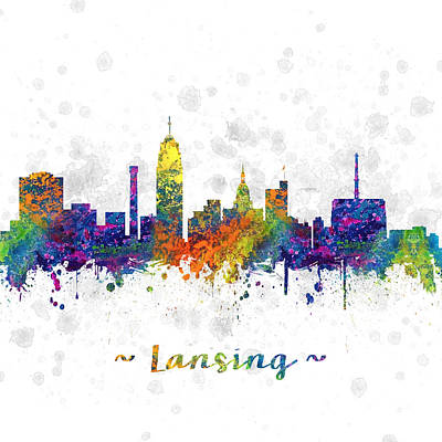 Lansing Michigan Color 03sq Poster by Aged Pixel