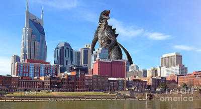 Large Lizard Seen In Nashville Tennessee Poster by Garland Johnson