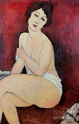 Large Seated Nude Poster by Amedeo Modigliani
