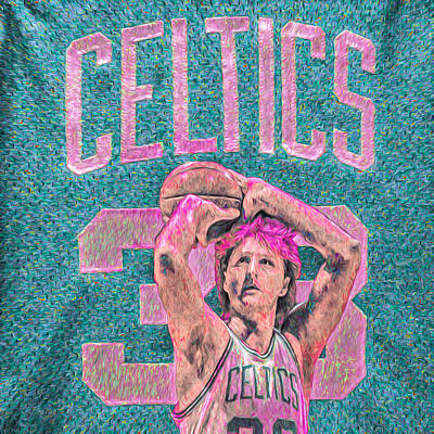 Larry Bird Boston Celtics Digital Painting Pink Poster by David Haskett
