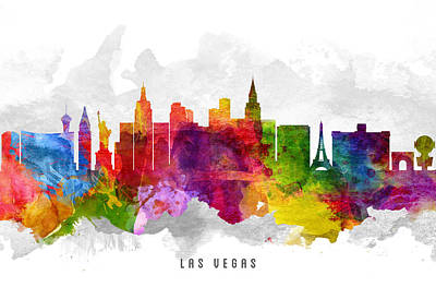 Las Vegas Nevada Cityscape 13 Poster by Aged Pixel