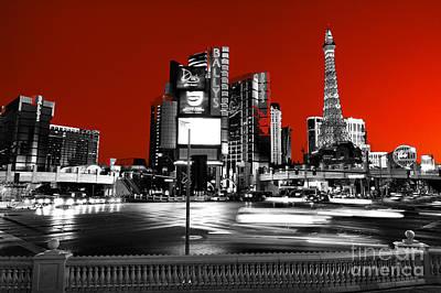 Las Vegas Red Fusion Poster by John Rizzuto