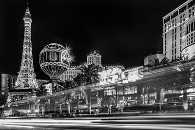Las Vegas Strip Light Show Bw Poster by Susan Candelario