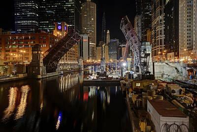 Lasalle St Draw Bridge Maintenance - Chicago River Poster by Daniel Hagerman