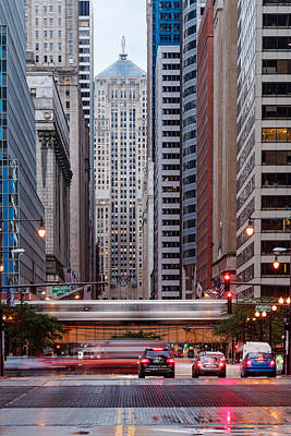 Lasalle Street Canyon With Chicago Board Of Trade Building At The South Side II - Chicago Illinois Poster by Silvio Ligutti
