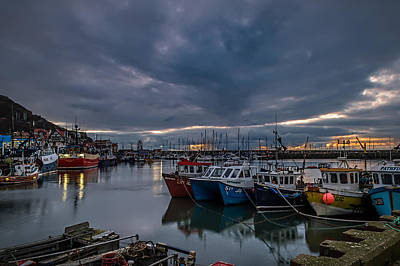 Late February Dawn At Scarborough Harbour. Poster by Cliff Miller