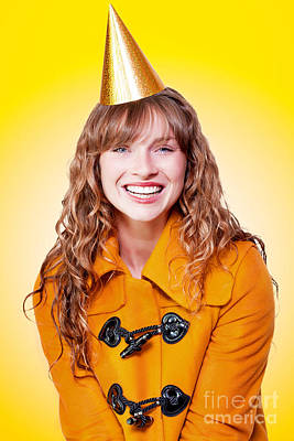 Laughing Winter Party Girl On Yellow Background Poster by Jorgo Photography - Wall Art Gallery