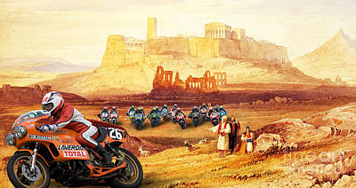 Laverda 26 Pole Position On A Athens Classic Painting Poster by Pablo Franchi