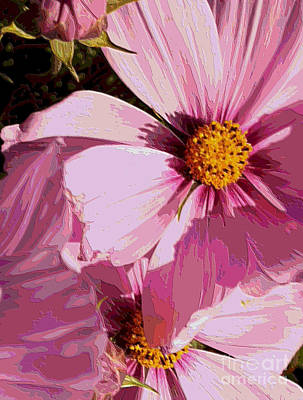 Layers Of Pink Cosmos - Digital Art Poster by Carol Groenen
