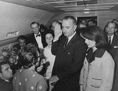 Lbj Taking The Oath On Air Force One Poster by War Is Hell Store