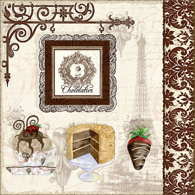 Le Chcolatier - Paris Eiffel Tower Chocolate Perfection Poster by Audrey Jeanne Roberts