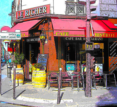 Le Richer Cafe Bar In Paris Poster by Jan Matson