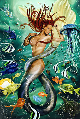 Lea The Mermaid Poster by Maggie Terlecki