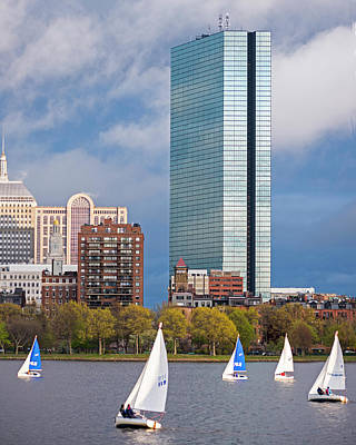 Lean Into It- Sailboats By The Hancock On The Charles River Boston Ma Poster by Toby McGuire