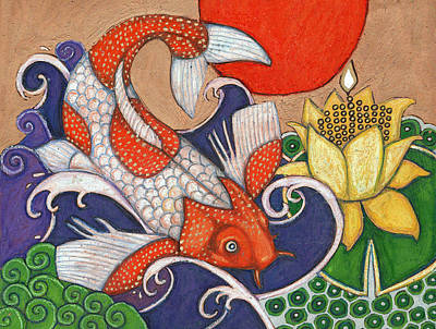 Leaping Koi Poster by Lynnette Shelley