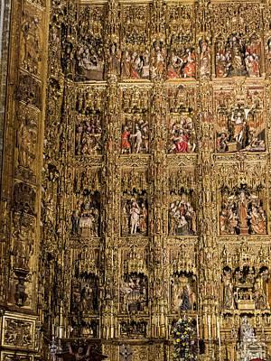 Left Half - The Golden Retablo Mayor - Cathedral Of Seville - Seville Spain Poster by Jon Berghoff