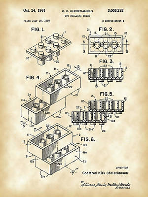 Lego Patent 1958 - Vintage Poster by Stephen Younts