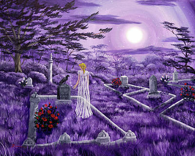 Lenore In Lavender Moonlight Poster by Laura Iverson