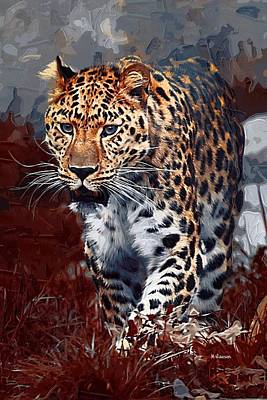 Leopard Hunting Poster by Dr Marshall Lawson