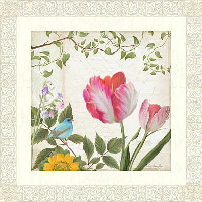 Les Magnifiques Fleurs I - Magnificent Garden Flowers Parrot Tulips N Indigo Bunting Songbird Poster by Audrey Jeanne Roberts