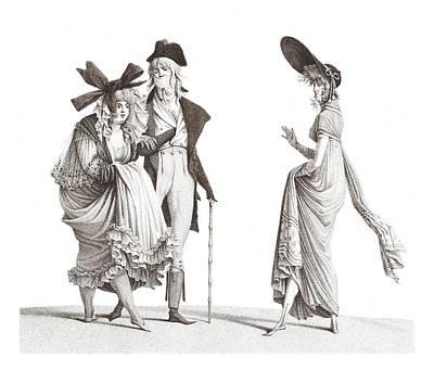 Les Merveilleuses Antique French Fashion Poster by Village Antiques