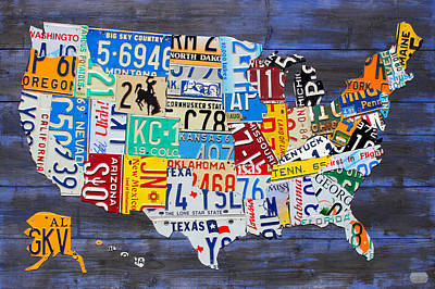 License Plate Map Of The Usa On Blue Wood Boards Poster by Design Turnpike
